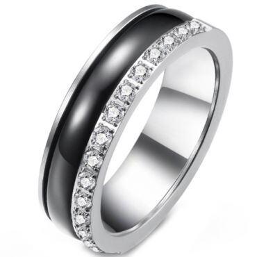 *COI Titanium Black Silver Ring With Cubic Zirconia-5913