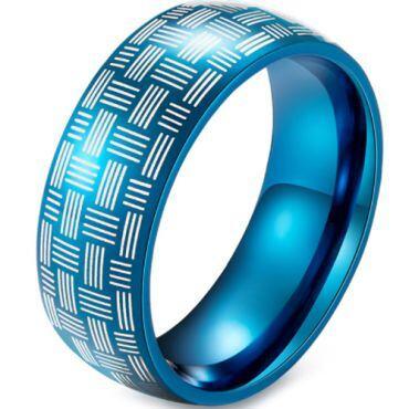 *COI Blue Tungsten Carbide Dome Court Ring-5914