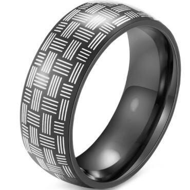 *COI Black Tungsten Carbide Dome Court Ring-5915