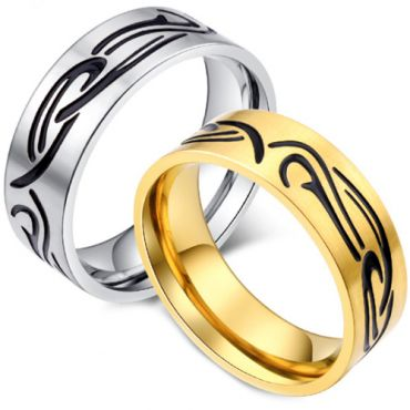 *COI Titanium Black Gold Tone/Silver Celtic Pipe Cut Flat Ring-5916