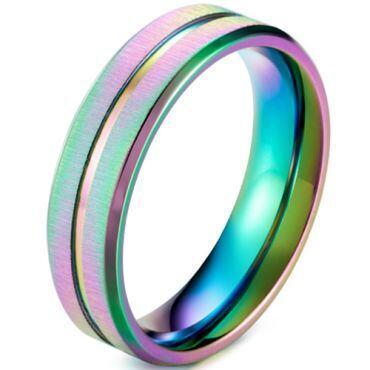 *COI Titanium Rainbow Pride Center Groove Step Edges Ring-5920