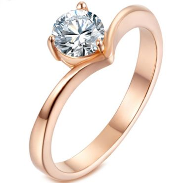 *COI Titanium Rose/Gold Tone/Silver Solitaire Ring With Cubic Zirconia-5923