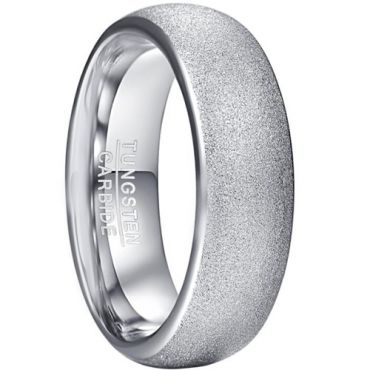 COI Tungsten Carbide Sandblasted Dome Court Ring-5926
