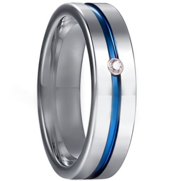 COI Tungsten Carbide Blue Silver Center Groove Ring With Cubic Zirconia-5929