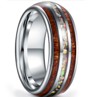 *COI Tungsten Carbide Crushed Opal & Wood Dome Court Ring-5931