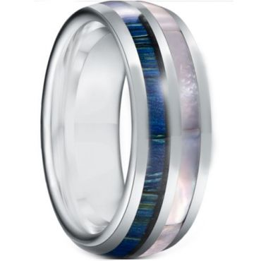 *COI Tungsten Carbide Blue Wood & Abalone Shell Dome Court Ring-5932