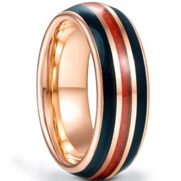*COI Rose Tungsten Carbide Dome Court Ring With Carbon Fiber-5933