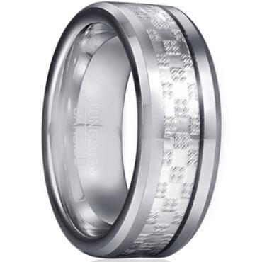 *COI Tungsten Carbide Checkered Flag Ring With Carbon Fiber-5934