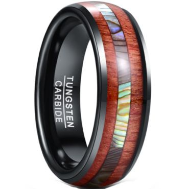 *COI Black Tungsten Carbide Abalone Shell & Wood Dome Court Ring-5945