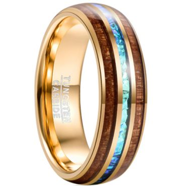 *COI Gold Tone Tungsten Carbide Abalone Shell & Wood Dome Court Ring-5946