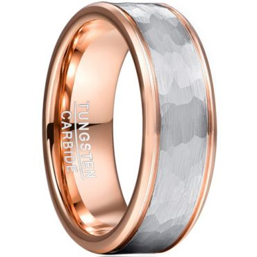 *COI Tungsten Carbide Rose Silver Hammered Double Grooves Ring-5952