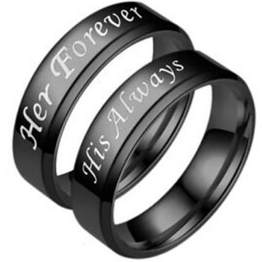 COI Black Tungsten Carbide Her Forever His Always Beveled Edges Ring-5953