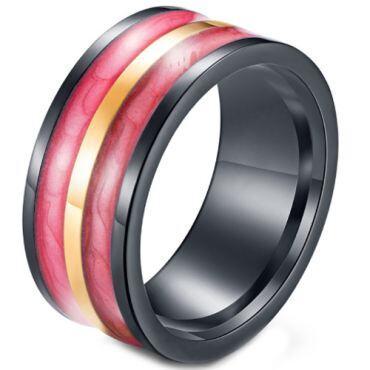 *COI Titanium Black Red Yellow Resin Pipe Cut Flat Ring-5965