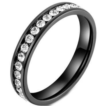 *COI Titanium Black/Silver/Gold Tone Ring With Cubic Zirconia-5966