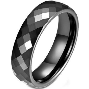 *COI Black Titanium Faceted Ring-5968