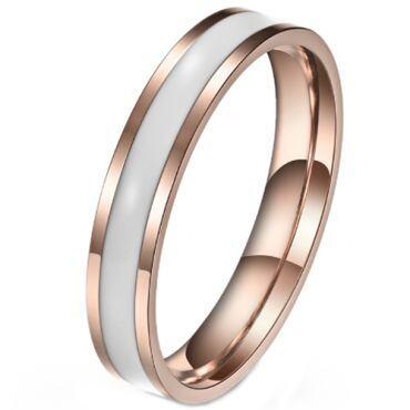 COI Rose Titanium White/Black Ceramic Pipe Cut Flat Ring-5970
