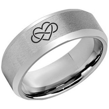 **COI Tungsten Carbide Infinity Heart Beveled Edges Ring-5973