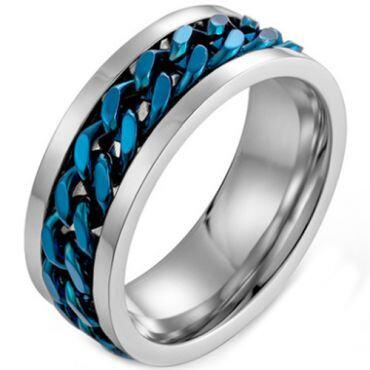 *COI Titanium Blue/Gold Tone/Black Silver Keychain Links Ring-5978