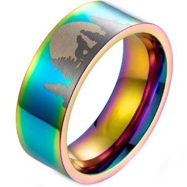 *COI Titanium Blue/Silver/Rainbow Pride Wolf Pine Tree Pipe Cut Flat Ring-5988