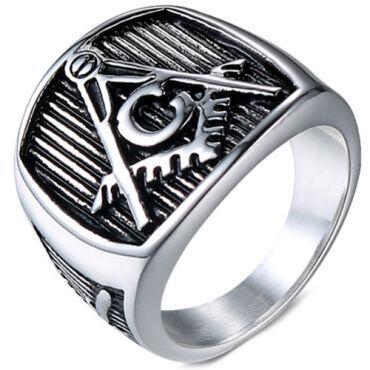 *COI Titanium Black Silver Masonic Freemason Ring-5991