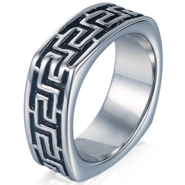 *COI Titanium Black Silver Greek Key Pattern Square Ring-5999