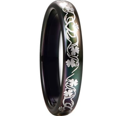 *COI Black Tungsten Carbide Four Leaf Clover Dome Court Ring-6005