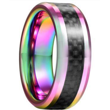 *COI Tungsten Carbide Rainbow Pride Beveled Edges Ring With Carbon Fiber-6008