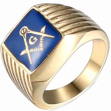 *COI Titanium Blue Gold Tone Masonic Ring-6013