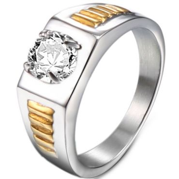 *COI Titanium Gold Tone Silver Solitaire Ring With Cubic Zirconia-6014