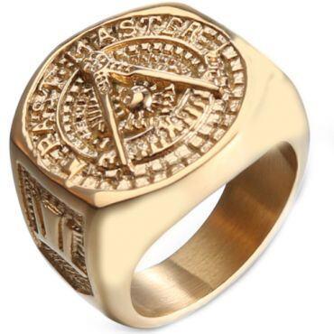 *COI Gold Tone Titanium Masonic Ring-6016
