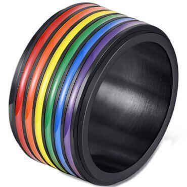 *COI Titanium Black/Gold Tone Rainbow Pride Ring-6019