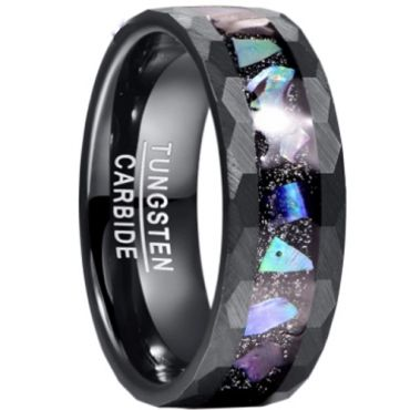 *COI Black Tungsten Carbide Hammered Ring With Abalone Shell-6022