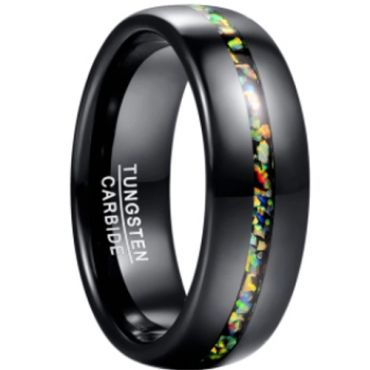 *COI Black Tungsten Carbide Crushed Opal Dome Court Ring-6023