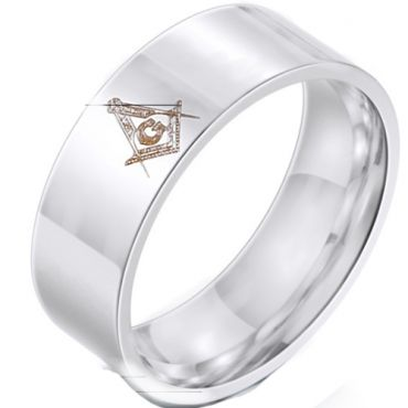 *COI Tungsten Carbide Masonic Pipe Cut Flat Ring-6025