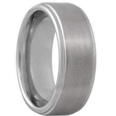 **COI Tungsten Carbide Polished Shiny Matt Step Edges Ring - TG614