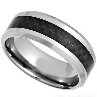 COI Titanium Carbon Fiber Beveled Edges Ring - JT527AA
