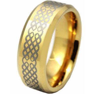 COI Gold Tone Tungsten Carbide Celtic Ring - TG2832AA