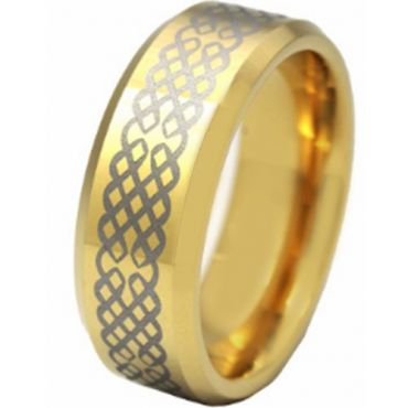COI Gold Tone Titanium Celtic Beveled Edges Ring - JT636AA