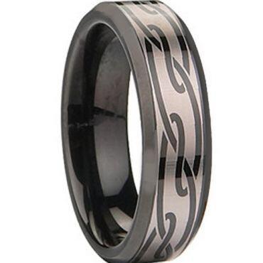 COI Black Titanium Beveled Edges Ring - JT1534AA