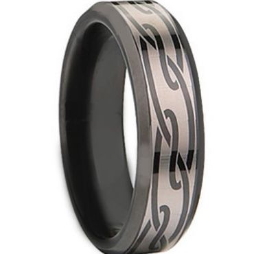 COI Black Tungsten Carbide Celtic Ring - TG674