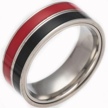 *COI Titanium Red Black/White Blue/Black White/Red Blue Resin Inlays Ring-6837