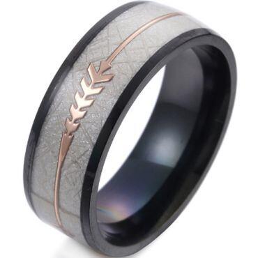 *COI Titanium Black/Blue/Gold Tone/Silver Meteorite Ring With Arrows-6848