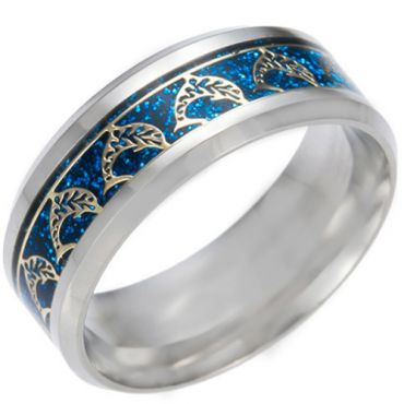 *COI Titanium Dolphin Beveled Edges Ring With Gold Tone/Silver/Blue Meteorite-6850