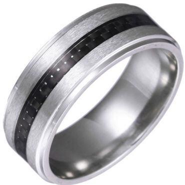 **COI Titanium Silver/Rose/Gold Tone Step Edges Ring With Carbon Fiber-6856
