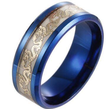 **COI Titanium Black/Blue Luminous Dragon Beveled Edges Ring-6857