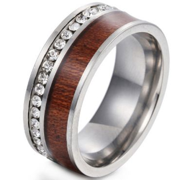 **COI Titanium black/Gold Tone/Silver Wood Ring With Cubic Zirconia-6858