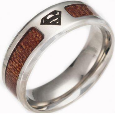 **COI Titanium Superman Man Ring With Wood-6859