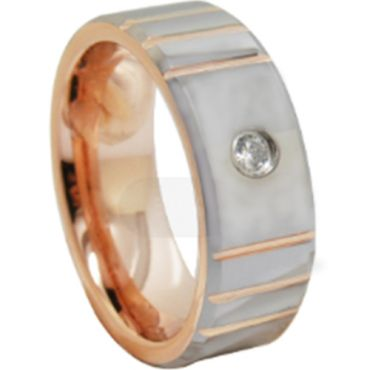 *COI Tungsten Carbide Rose Silver Grooves Cubic Zirconia Ring-TG6860