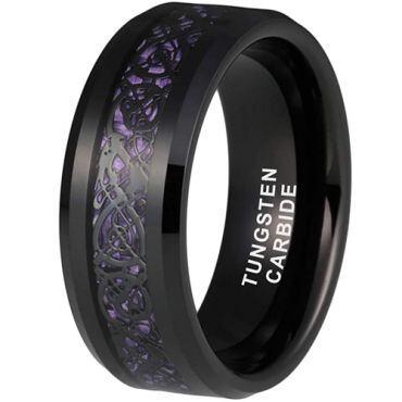 *COI Black Tungsten Carbide Dragon Beveled Edges Ring With Purple Carbon Fiber-TG6861