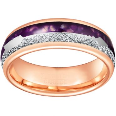 *COI Rose Tungsten Carbide Meteorite Lapis Lazuli Ring With Arrows-TG6862